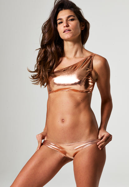 ARDEN ROSE GOLD METALLIC PVC BIKINI