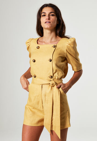 DIANA GOLD LINEN SHORT SUIT