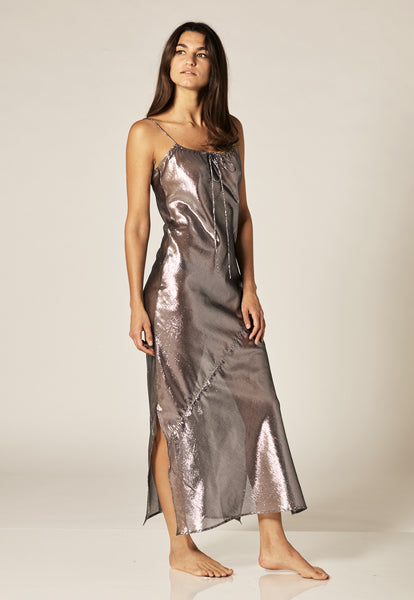 KATE BLACK METALLIC SLIP DRESS