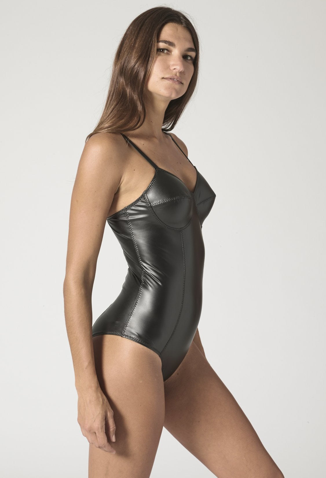 GOLDWYN BLACK VEGAN LEATHER MAILLOT