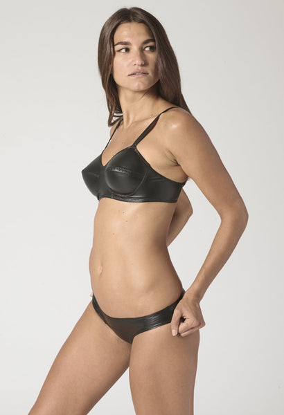 GOLDWYN BLACK VEGAN LEATHER BIKINI