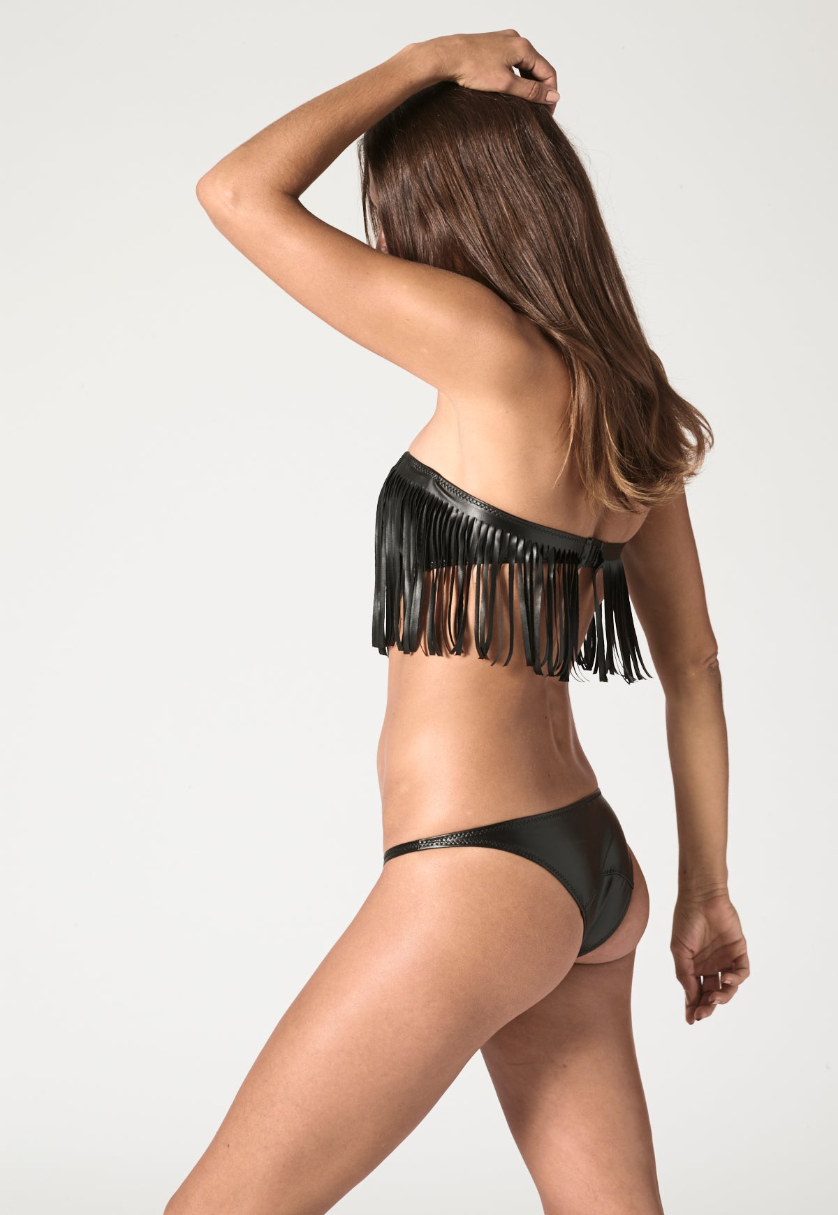 NATALIE FRINGE BLACK VEGAN LEATHER BIKINI