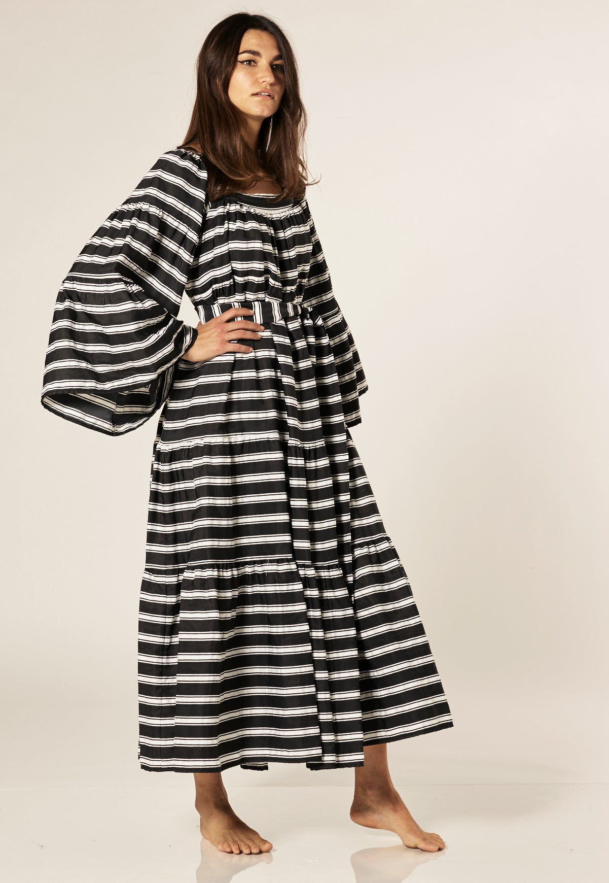 BLACK STRIPED PEASANT DRESS