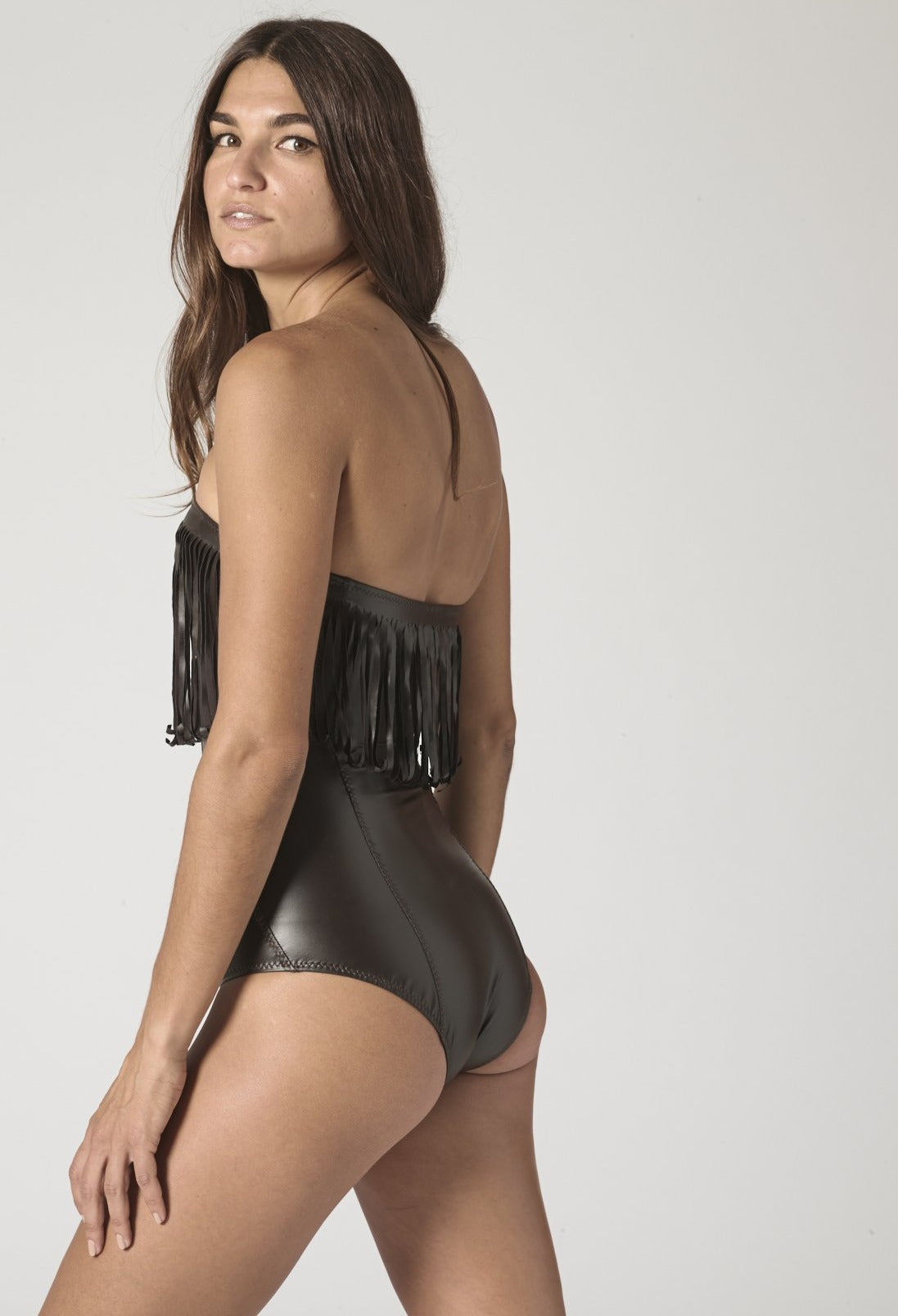 IMAAN FRINGE CHOCOLATE VEGAN LEATHER MAILLOT