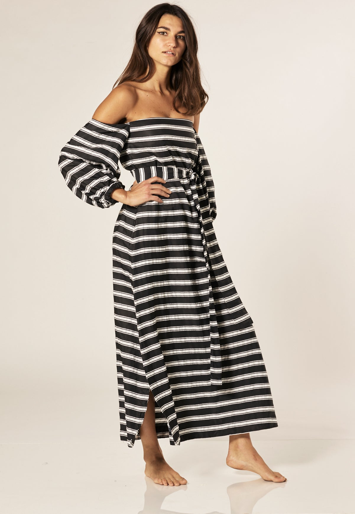 ROSIE BLACK STRIPED DRESS