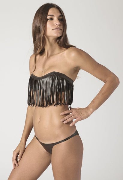 NATALIE FRINGE CHOCOLATE VEGAN LEATHER BIKINI
