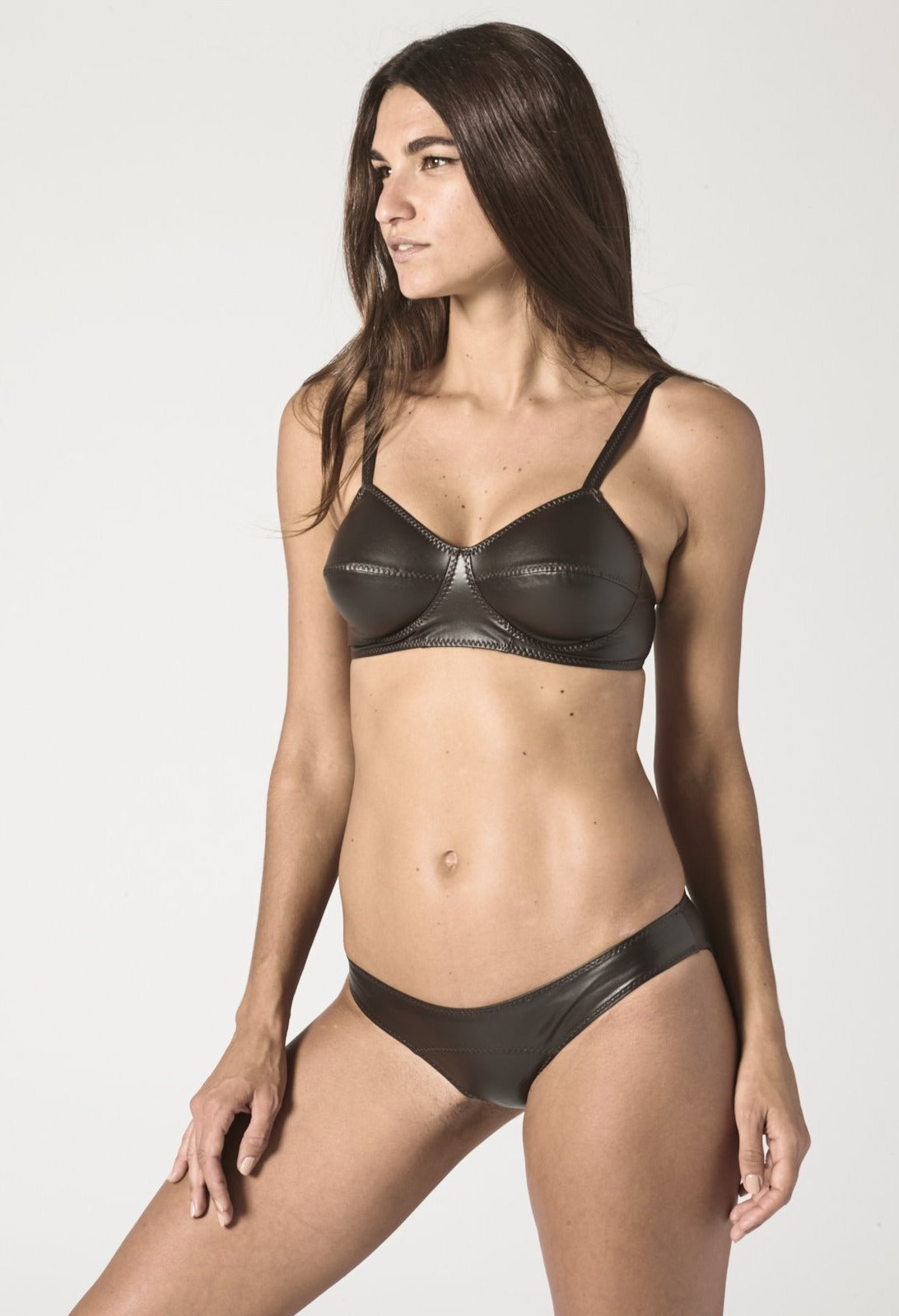 GOLDWYN CHOCOLATE VEGAN LEATHER BIKINI
