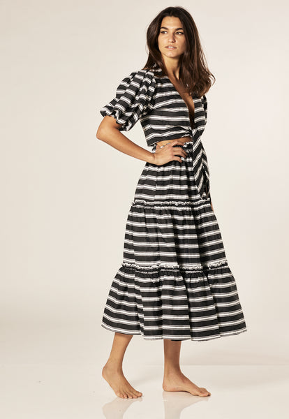 BLACK/WHITE STRIPED PEASANT SKIRT