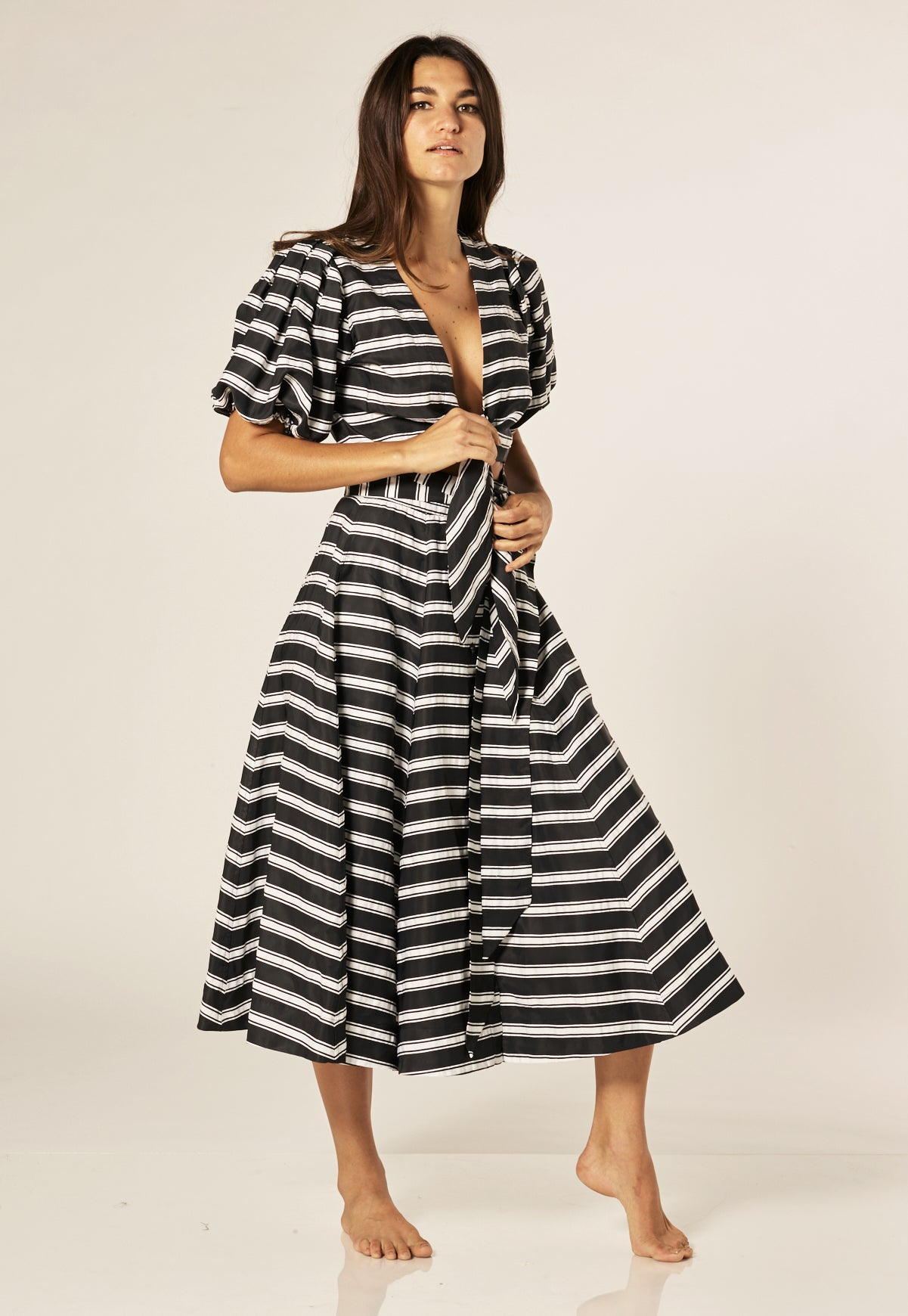BLACK STRIPED BEACH SKIRT