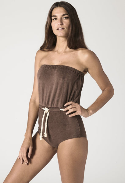 VICTOR CHOCOLATE TERRY DRAWSTRING MAILLOT