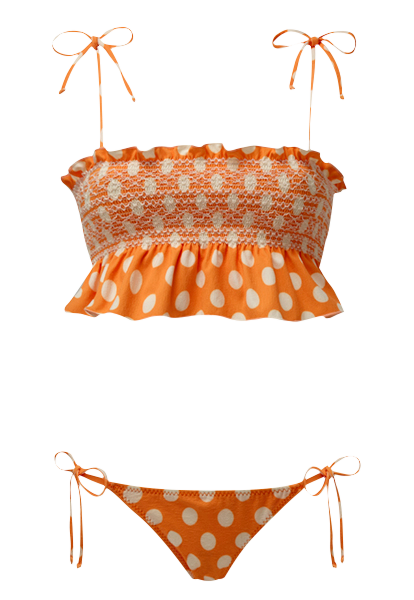 SELENA SMOCKED ORANGE POLKA DOT BIKINI