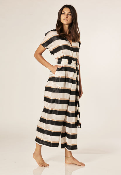 ROSETTA BLACK/GOLD STRIPED JUMPSUIT