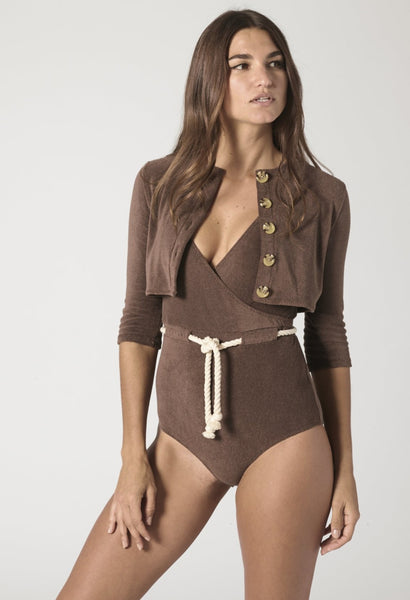 CHOCOLATE TERRY BUTTON CARDIGAN