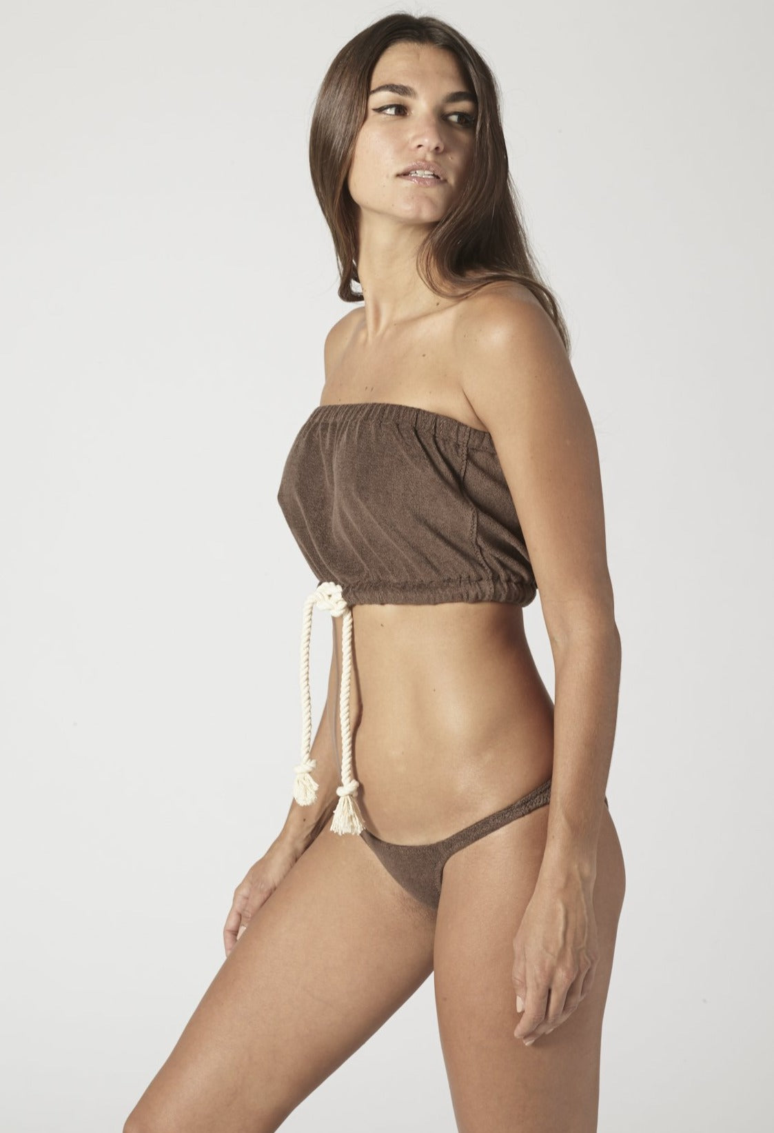 VICTOR CHOCOLATE TERRY DRAWSTRING BIKINI