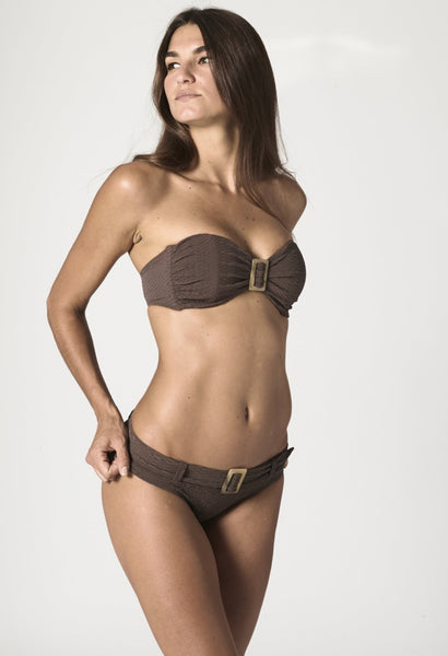 BUCKLE BANDEAU CHOCOLATE SEERSUCKER BIKINI