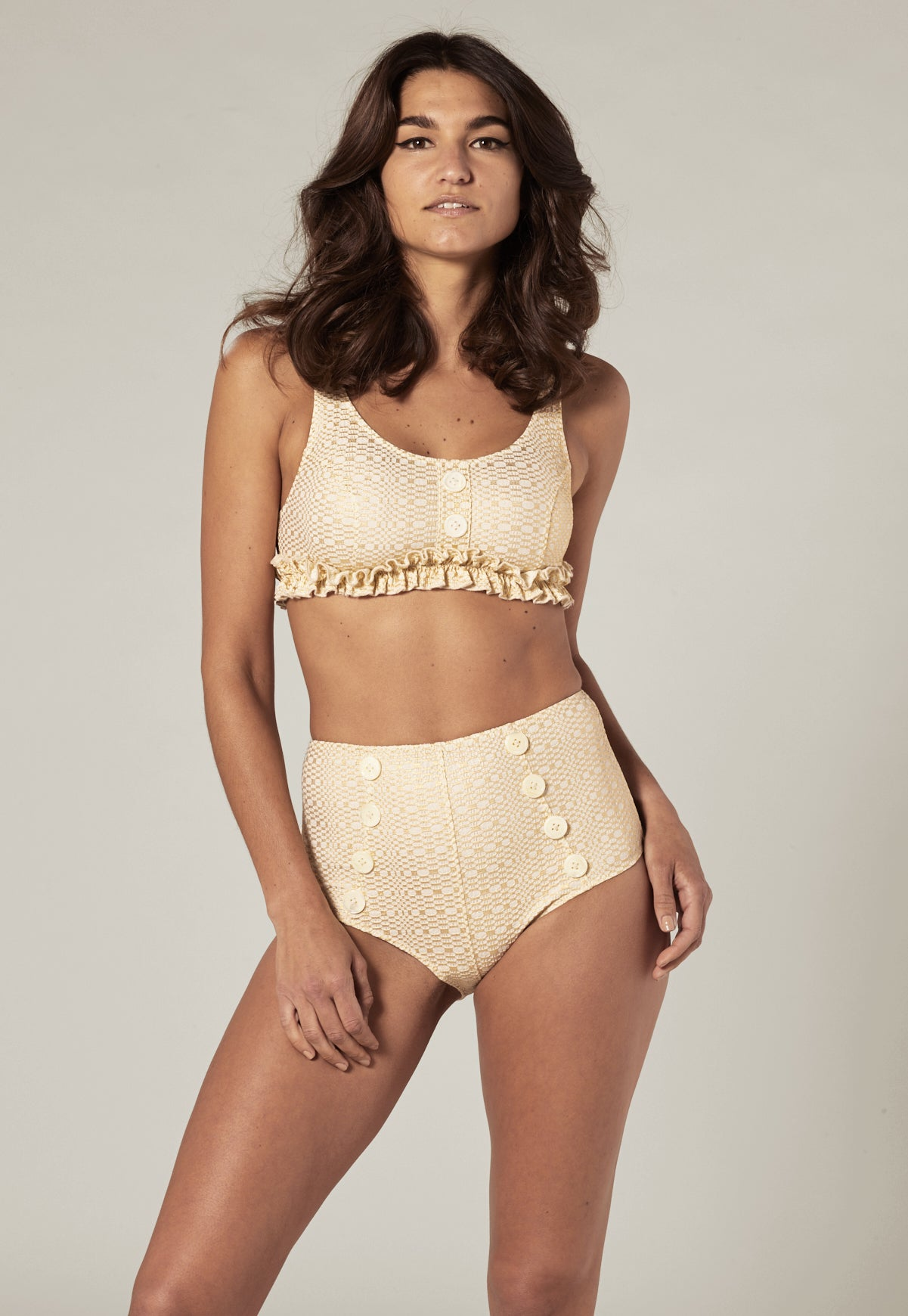 COLBY GOLD METALLIC SEERSUCKER HIGH-WAIST BIKINI