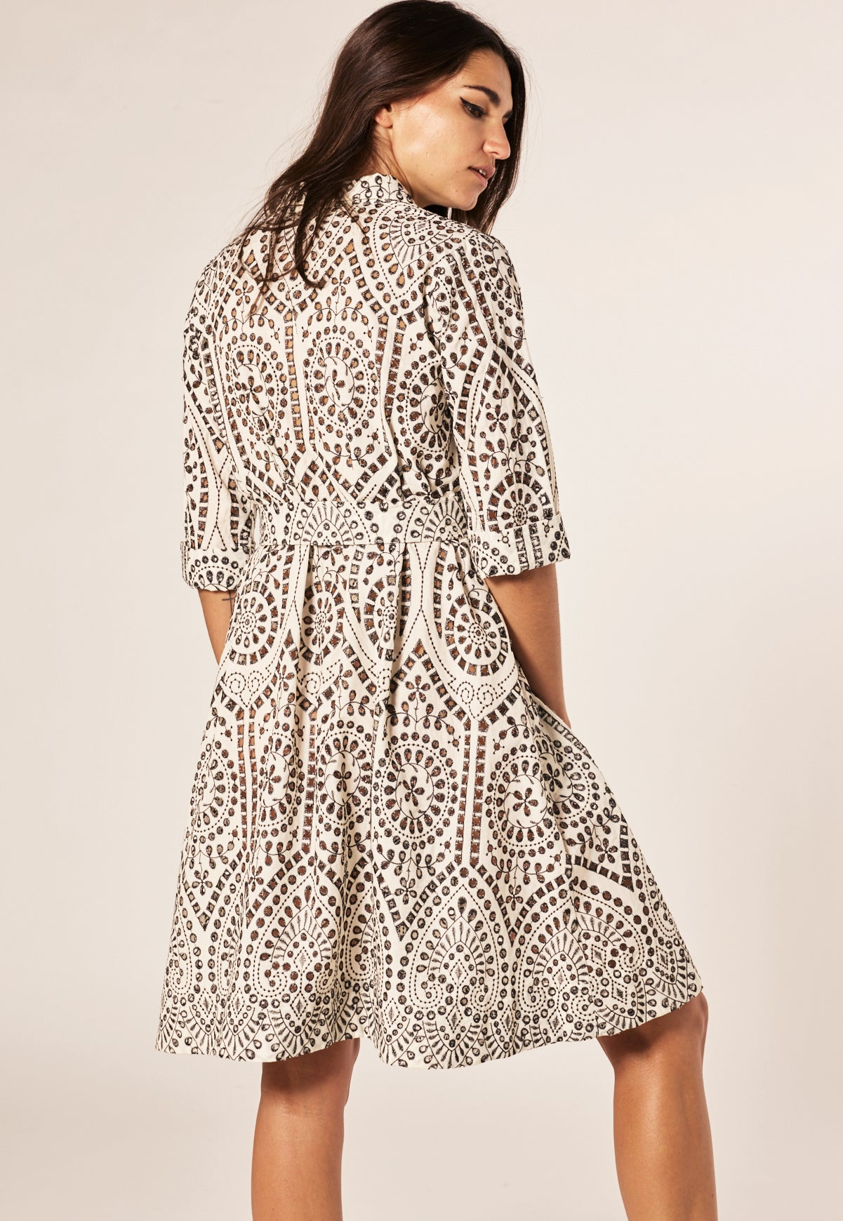 NATURAL/BLACK EYELET MINI SHIRT DRESS