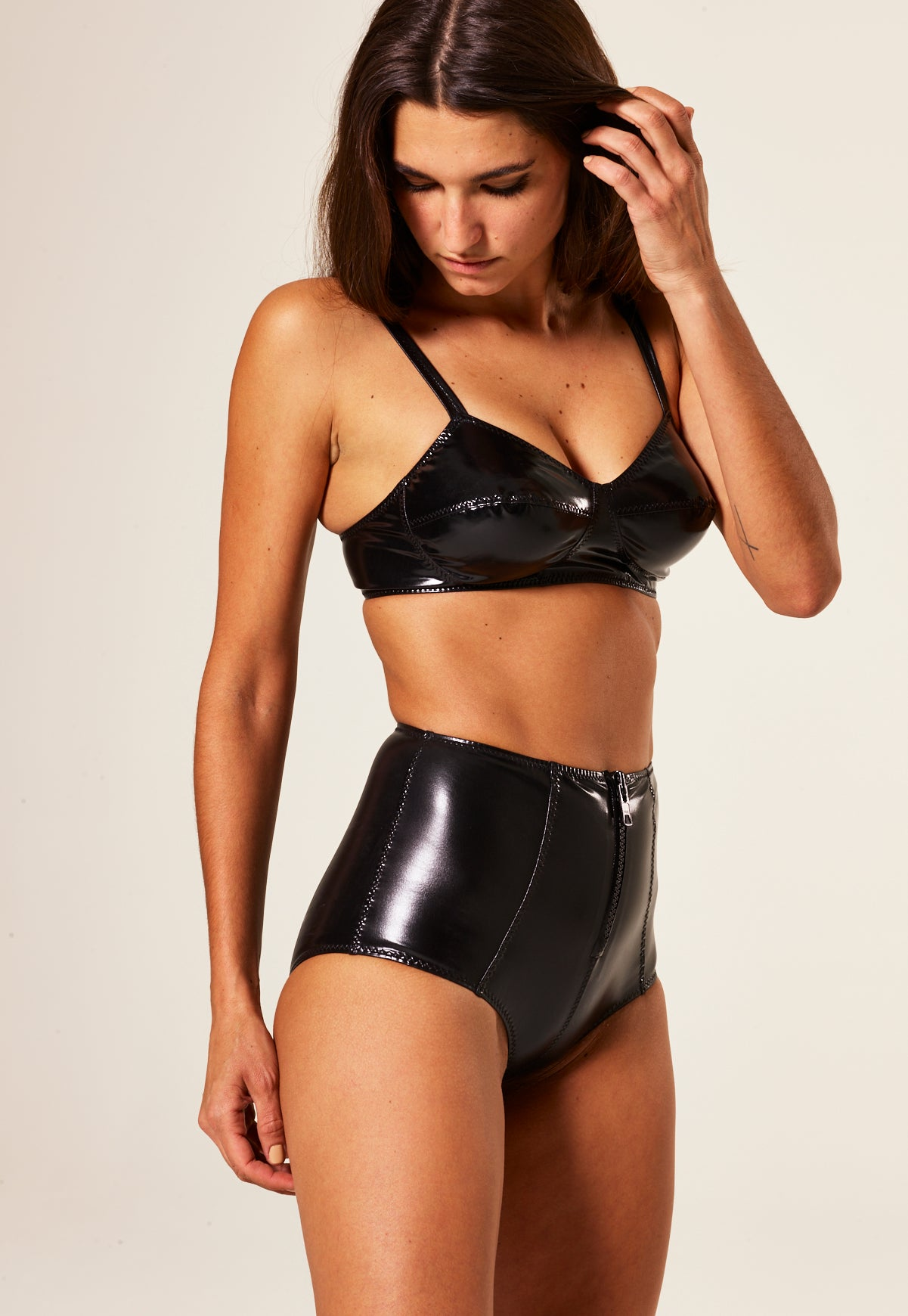 GOLDWYN BLACK PVC HIGH-WAIST BIKINI