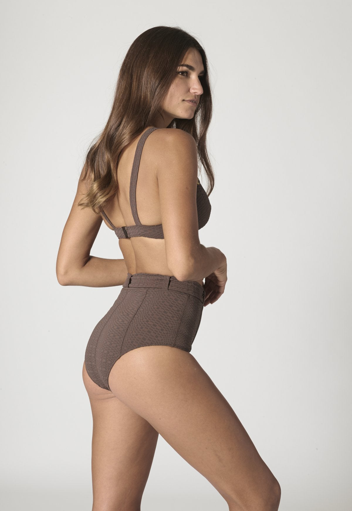 MAGDALENA CHOCOLATE SEERSUCKER BELTED HIGH-WAIST BIKINI