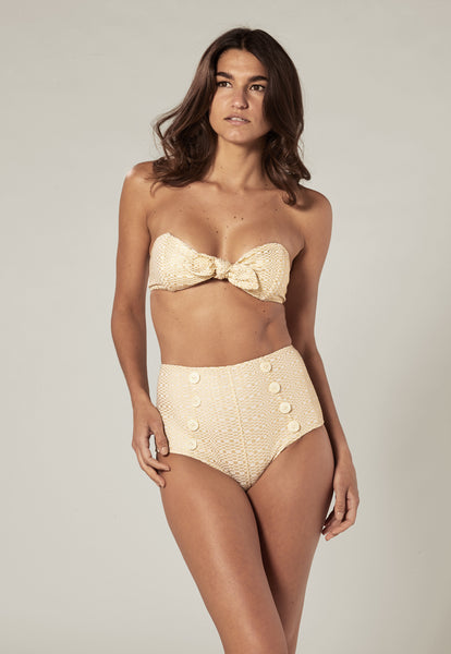 POPPY GOLD METALLIC SEERSUCKER BIKINI