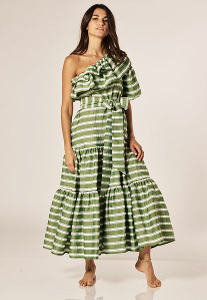ARDEN GREEN STRIPED POUF SLEEVE DRESS