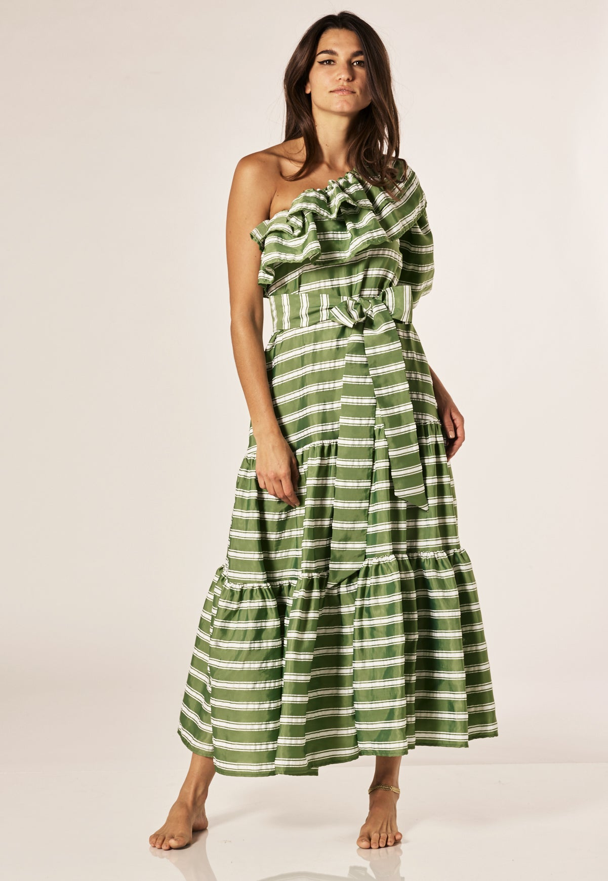 ARDEN GREEN STRIPED DRESS