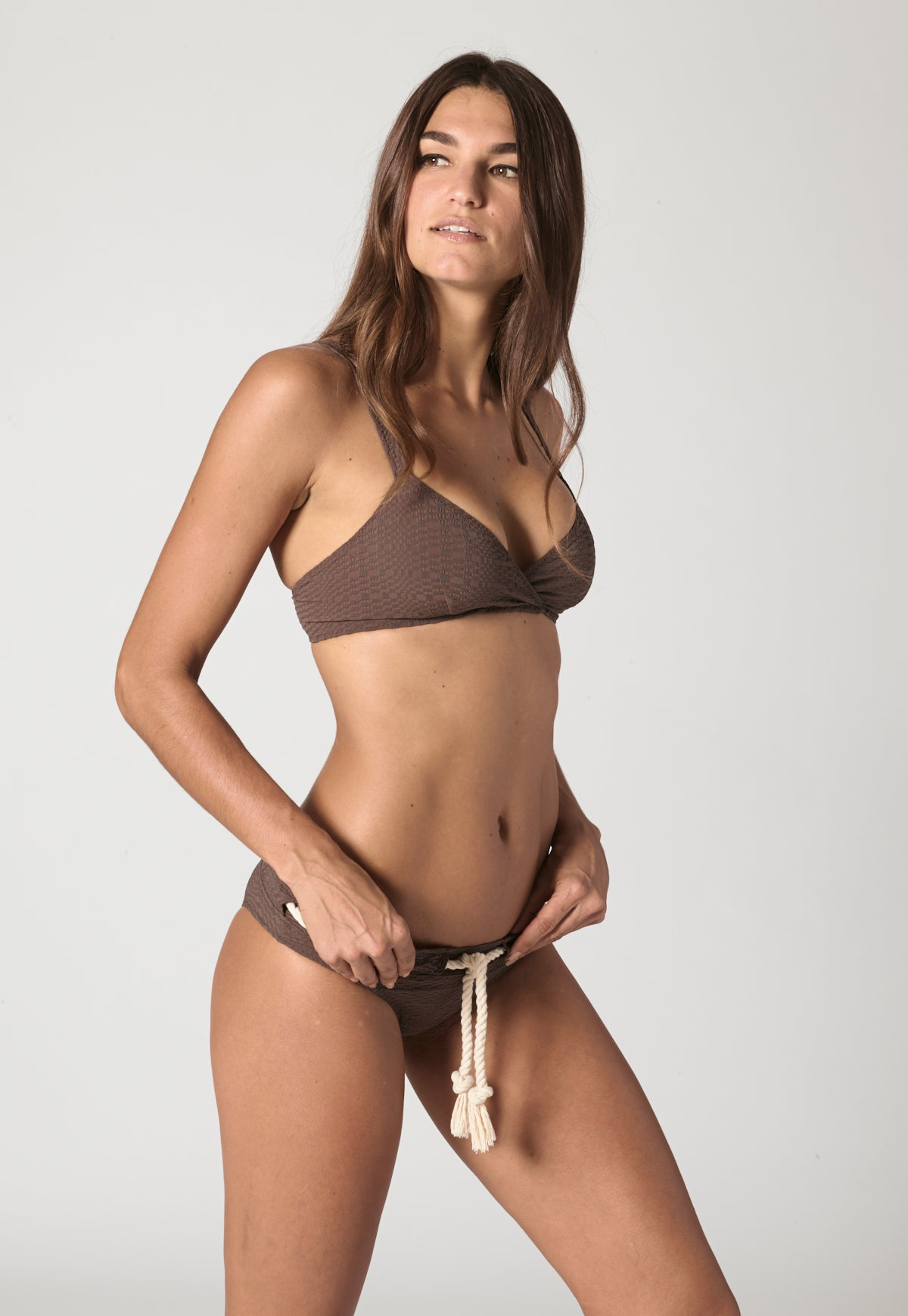 YASMIN CHOCOLATE SEERSUCKER DRAWSTRING BIKINI