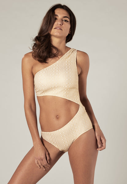 EUGENIE GOLD METALLIC SEERSUCKER MAILLOT