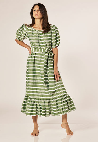 PRAIRIE GREEN STRIPED DRESS