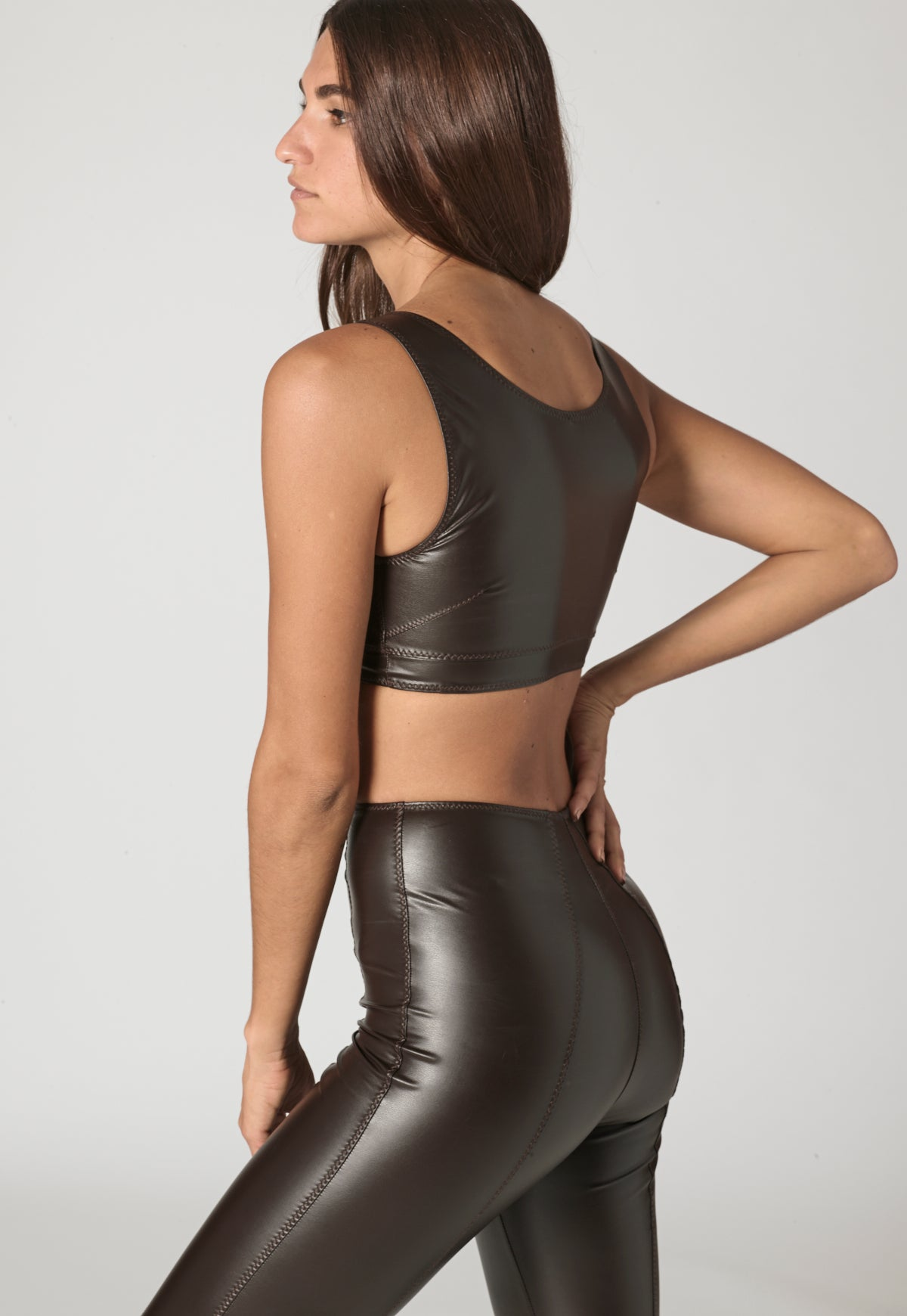 ZANI CHOCOLATE VEGAN LEATHER TOP