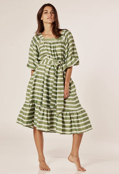 LAURE GREEN STRIPED DRESS