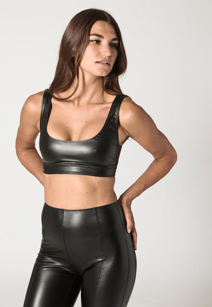 ZANI BLACK VEGAN LEATHER TOP