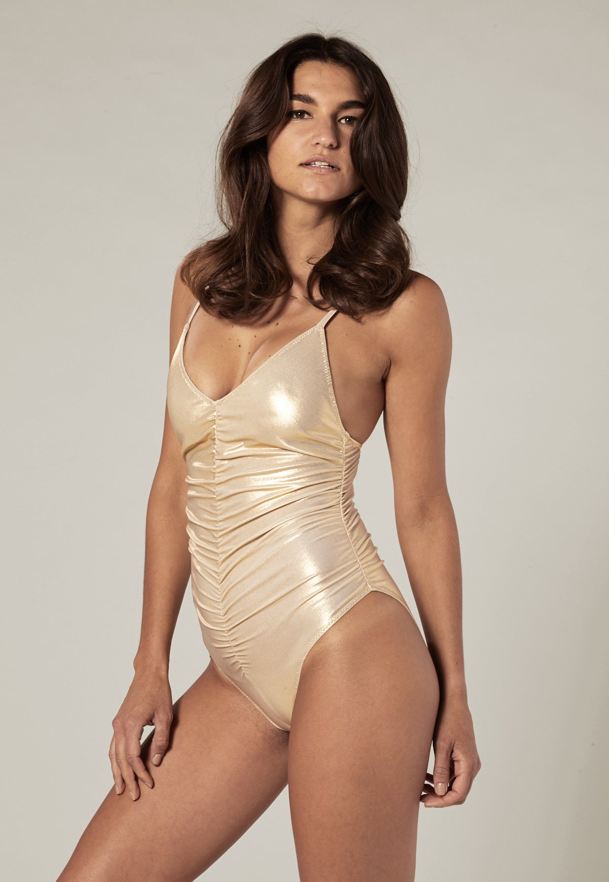 GOLD METALLIC CAMISOLE RUCHED  MAILLOT
