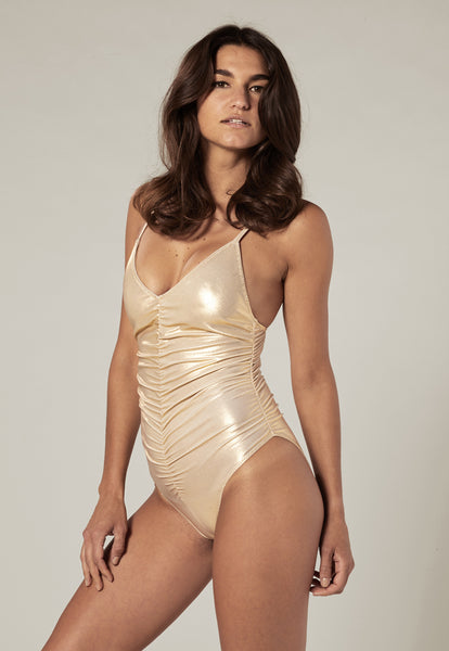 RUCHED GOLD METALLIC CAMISOLE MAILLOT