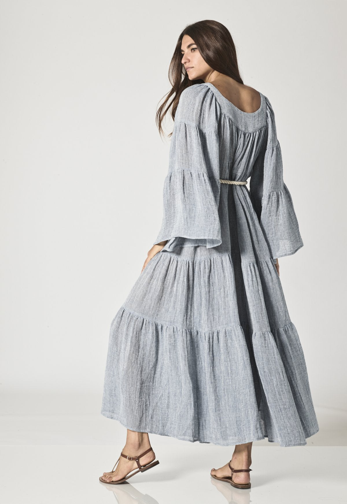 BLUE CHIOS GAUZE PEASANT DRESS