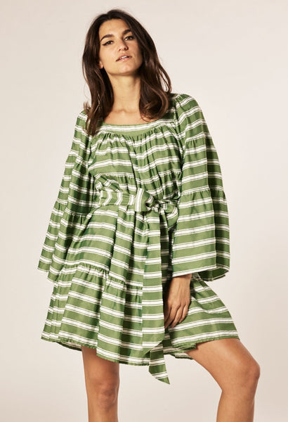 GREEN STRIPED MINI PEASANT DRESS