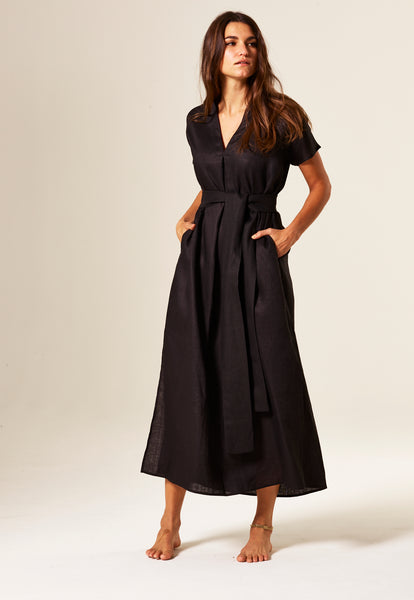 ROSETTA BLACK LINEN CAFTAN DRESS