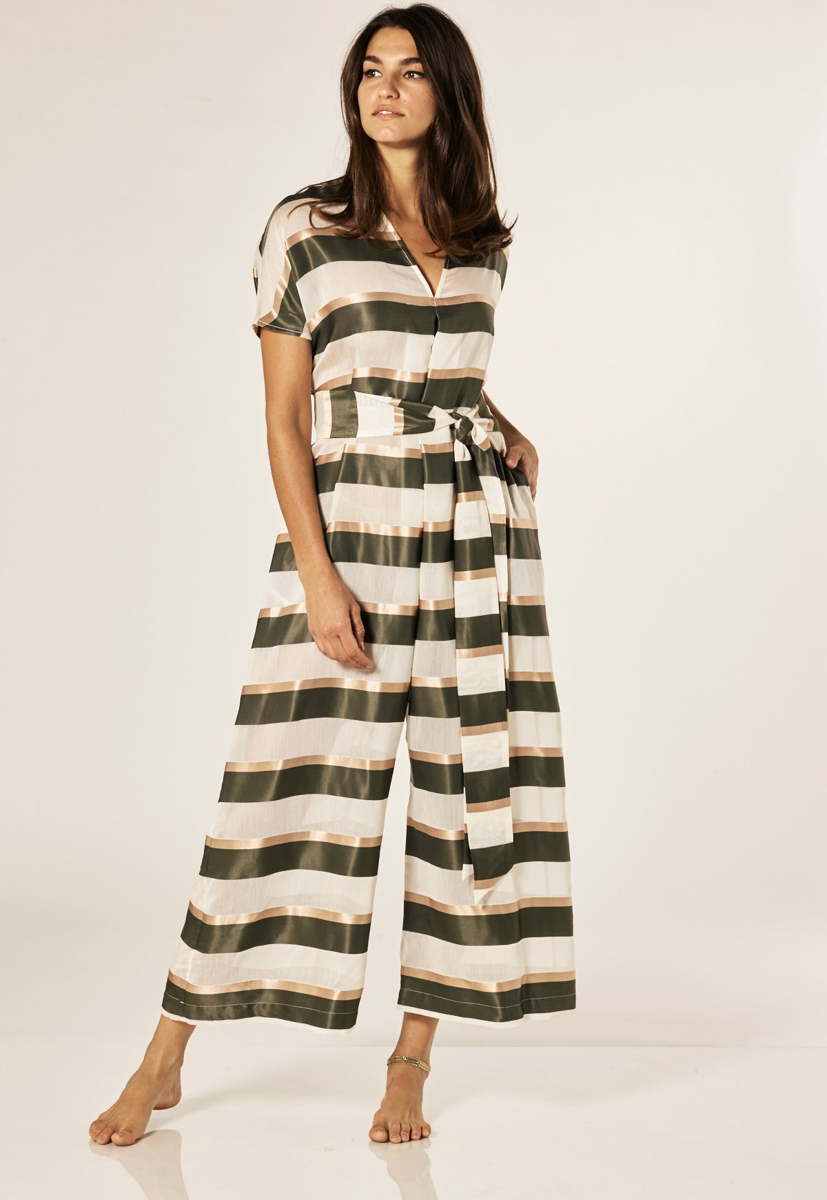 ROSETTA OLIVE/GOLD STRIPED JUMPSUIT