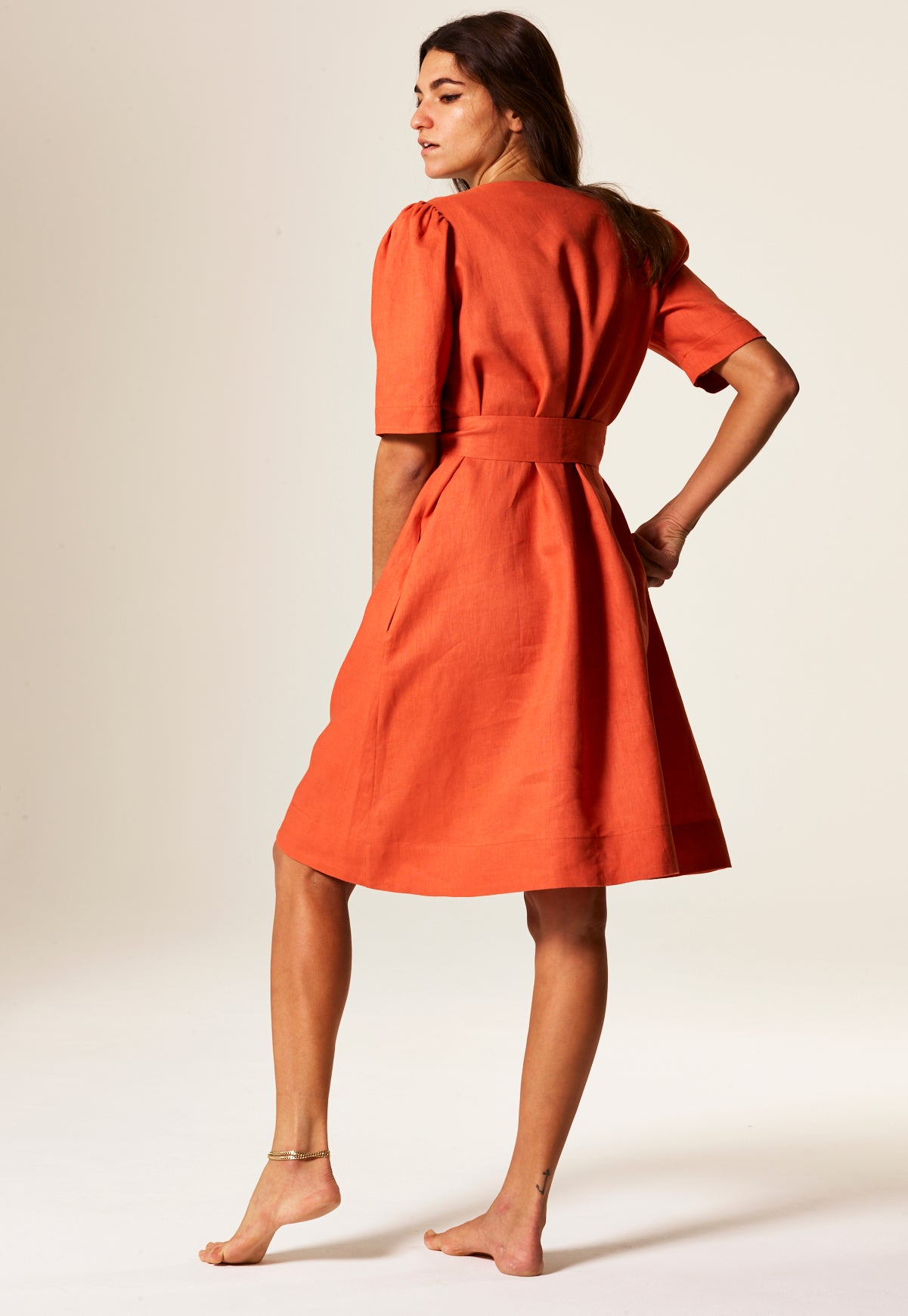Diana Terracotta Linen Shirt Dress Lisa Marie Fernandez