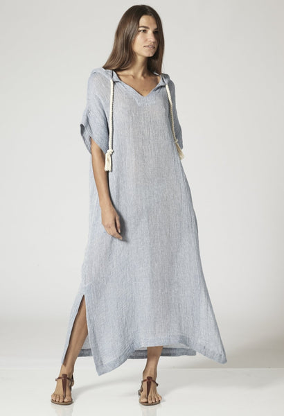 BLUE CHIOS GAUZE HOODED CAFTAN