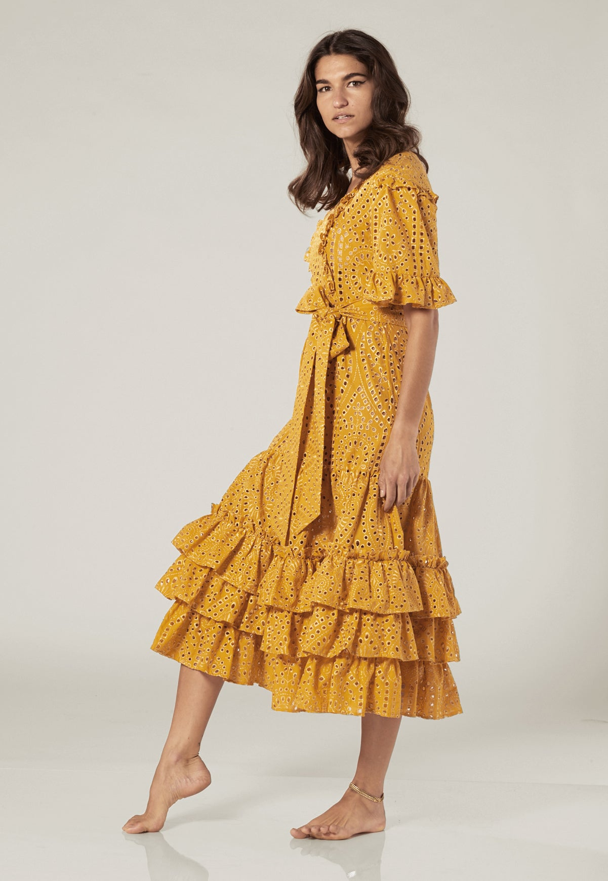 JANUARY SAFFRON AND GOLD EYELET DRESS