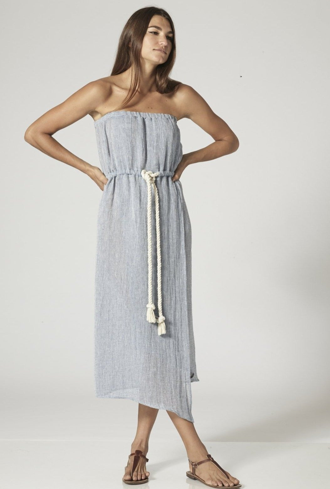VICTOR BLUE GAUZE MAXI DRESS