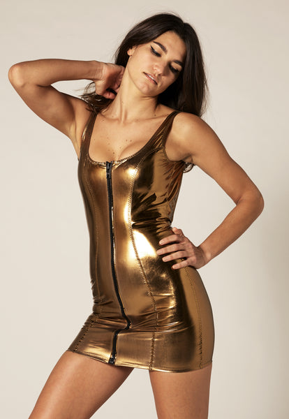 JASMINE BRONZE METALLIC PVC DRESS