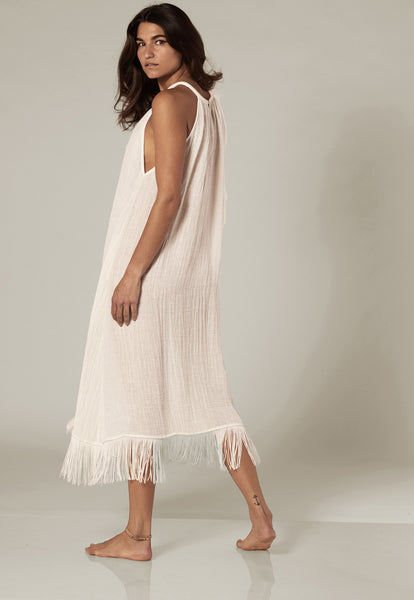 OJAI WHITE GAUZE FRINGE DRESS