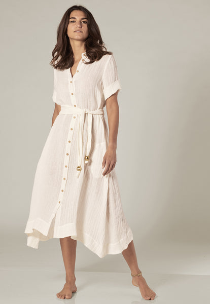 WHITE GAUZE SHIRT DRESS
