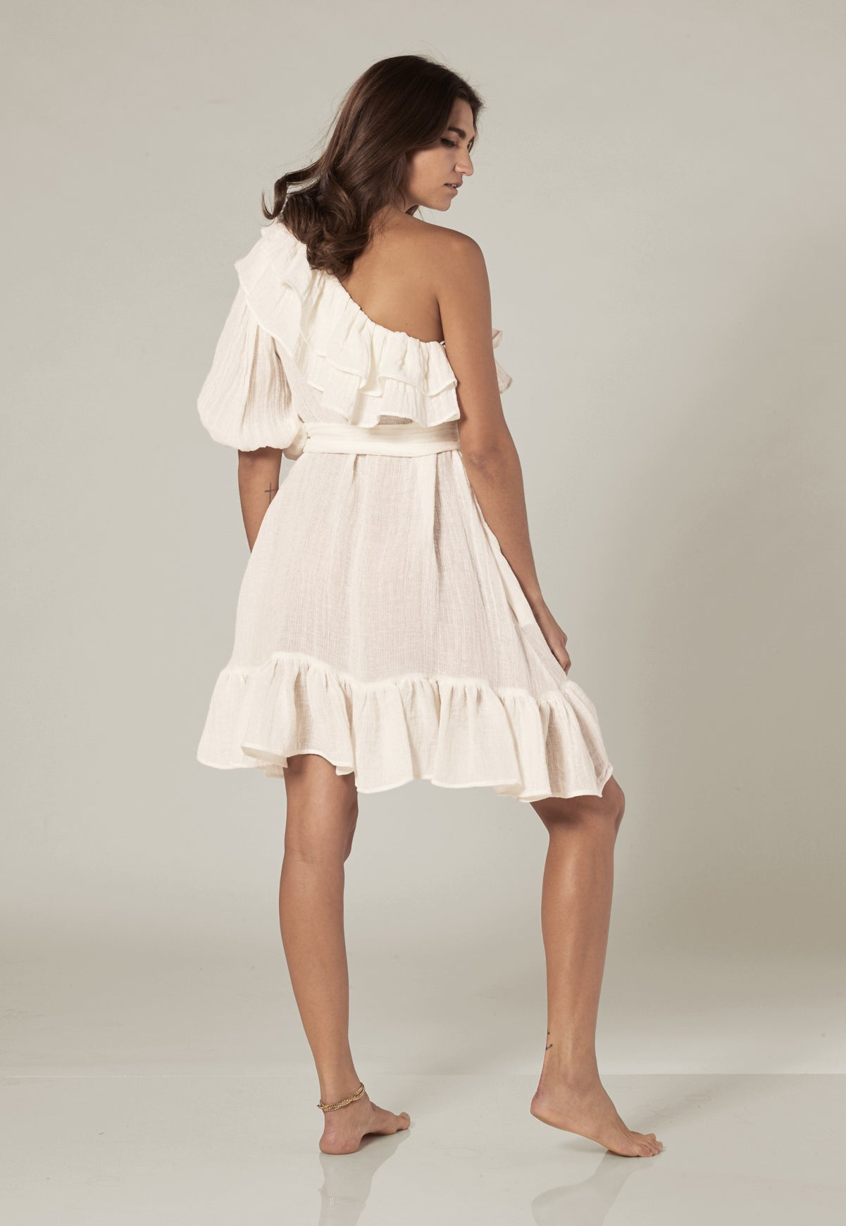ARDEN WHITE GAUZE MINI DRESS
