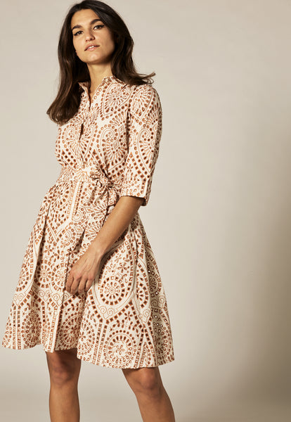 NATURAL/TERRACOTTA EYELET MINI SHIRT DRESS
