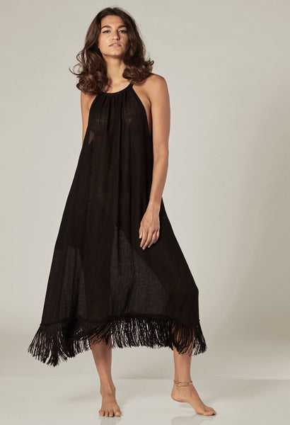 OJAI BLACK GAUZE FRINGE DRESS