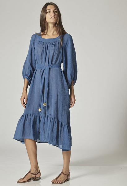 LAURE MOROCCAN BLUE GAUZE DRESS