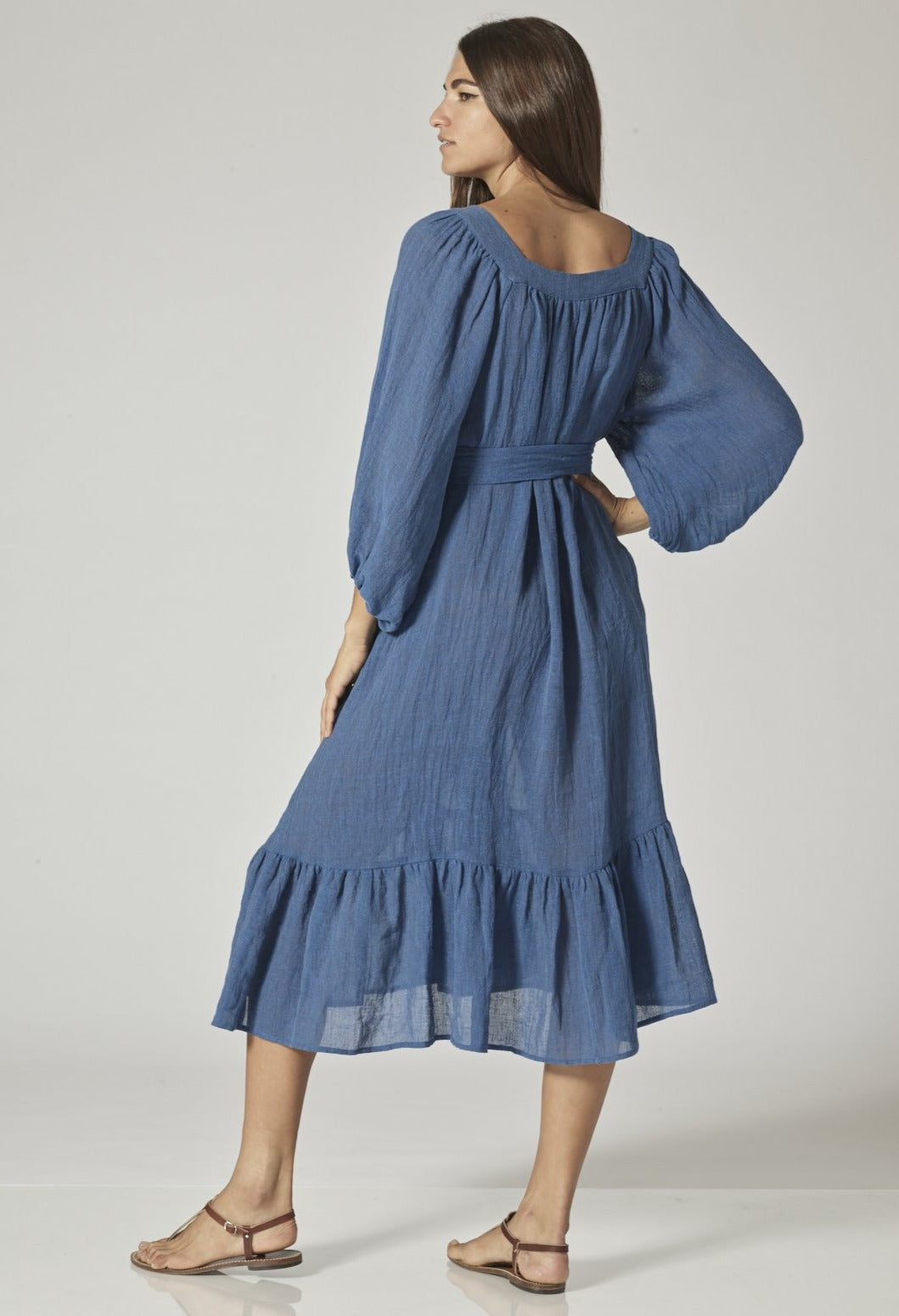 LAURE MOROCCAN BLUE ORGANIC GAUZE DRESS